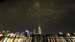 Frankfurt am Main Skyline Timelapse with River Reflection Stock Footage