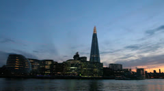 City Hall, The Shard and Thames River at Dusk - London, UK - 3 Colorful sunset Stock Footage