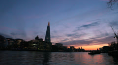 City Hall, The Shard and Thames River at Dusk - London, UK - 2 Colorful sunset Stock Footage