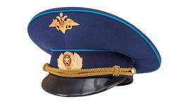 Russian military officer cap (air force) isolated on white Stock Photos