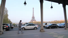 Pont de Bir-Hakeim with Eiffel Tower. Stock Footage