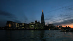 City Hall, The Shard and Thames River at Dusk - London, UK - 4 Colorful sunset Stock Footage