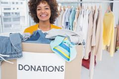 Woman participating at charity - stock photo