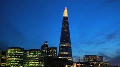 City Hall and The Shard at Dusk - London, UK 5 - Sunset Stock Footage