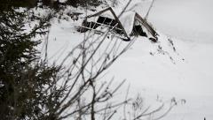 Collapsed cabin winter Stock Footage