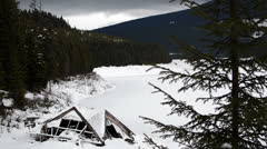 Lake cabin pan left Stock Footage