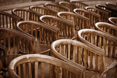 Old wooden chairs in the theater Stock Photos