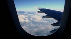 Traveling by air. View through an airplane window.  No 11 Stock Footage