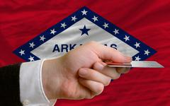 buying with credit card in us state of arkansas - stock photo