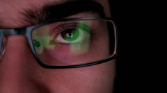 Computer Display Reflection Glasses Stock Footage