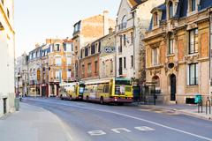 rue chanzy in reims - stock photo