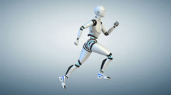 Running cyborg. Cycle. Side view Stock Footage