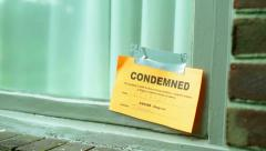 condemned sign on house window - stock footage