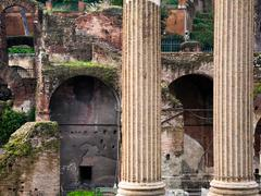 columns and ruins on capitoline hill, rome, - stock photo