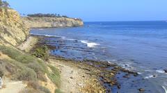 Rocky Shoreline, Sea Cliffs And Surf- San Pedro CA Stock Footage