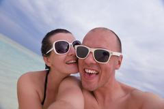 Happy young couple have fun on summer Stock Photos