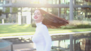 Beautiful woman modeling with  rack focus Stock Footage