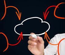 Buisnessman drawing cloud with orange arrows - stock photo