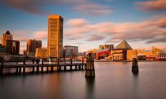 Ilta pitkä altistuminen Baltimore horisonttiin, Maryland Kuvituskuvat