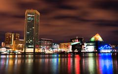 long exposure of the colorful baltimore skyline at night, maryland - stock photo