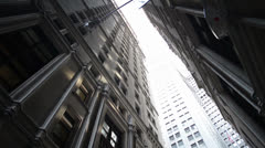 (HD) Downtown NYC Alleyway Pan Down Stock Footage