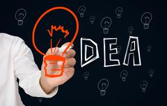 Businessman drawing big orange light bulb as the i in idea - stock photo