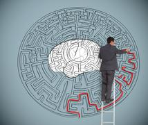 Businessman trying to solve a large maze with a brain illustration Stock Illustration