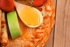 sweet food : big thin pancake - stock photo