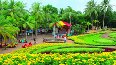 Peoples walks in Nong Nooch tropical garden in Thailand Stock Footage