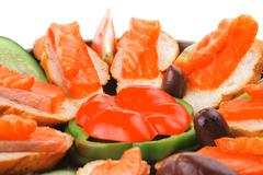 Small salmon sandwiches Stock Photos