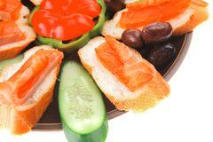 Fresh vegetables with salmon Stock Photos