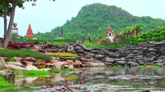 Pond in Nong Nooch tropical garden in Thailand Stock Footage