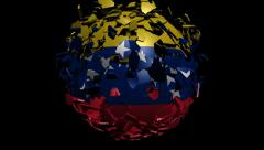 Venezuela flag sphere converging animation - stock footage