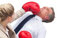 Businesswoman boxing her co worker Stock Photos