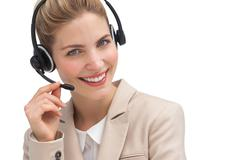 Smiling customer service operator - stock photo