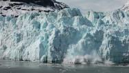 Stock Video Footage of Margerie Glacier tidewater calving Glacier Bay slow motion HD 1380