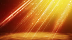 loopable background flying gold particles in light beams - stock footage