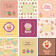 Cupcake cards collection Stock Illustration