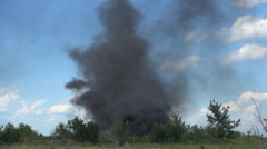 Black Smoke Clouds, Nature Pollution, Burning Fire, Ecological Disaster Stock Footage