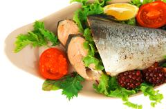 Alaskan salmon and vegetables Stock Photos