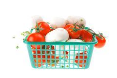 white mushroom and cherry - stock photo