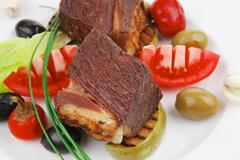 Stock Photo of beef fillet mignon grilled and garnished