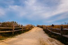 Path over sand dunes to the beach, cape may, new jersey. Stock Photos