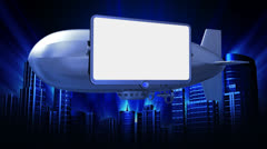Video screen on dirigible Stock Footage