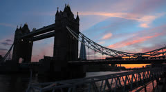 Sunset over Tower Bridge. Colorful sunset. London, UK. 3 Stock Footage