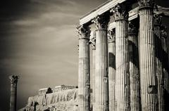 temple of olympian zeus and acropolis, athens - stock photo