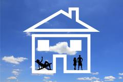 Family of   dreams about the house Stock Illustration