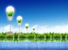 Stock Illustration of eco concept -light bulb grow in the grass