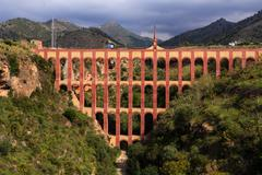 Aqueduct named el puente del aguila in nerja,andalusia, spain Stock Photos