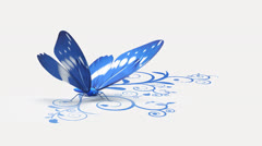 Blue butterfly on ornate background Stock Footage